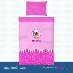 Ovis ágyneműhuzat-Ablak-rózsaszín ovisjellel