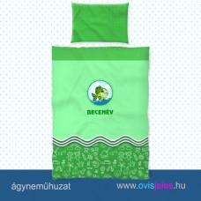 Ovis ágyneműhuzat-Halacska-zöld ovisjellel
