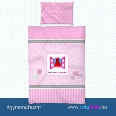 Ovis ágyneműhuzat-Ablak-rózsaszín ovisjellel 2.tip.