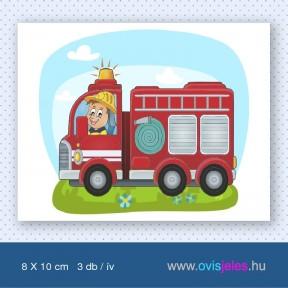 Tűzoltó-autós -3 db-os ovisjel