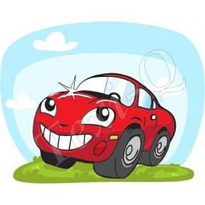Ovis jeles kötény, hátizsák: Autó-piros