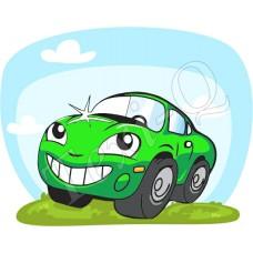 Póló: Autó-zöld