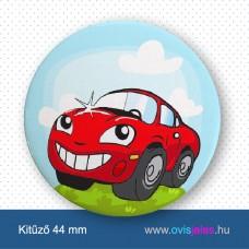 Autó-piros -ovisjel kitűző